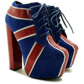 AMERICAN FLAG BLOCK HEEL LACED CONCEALED PLATFORM ANKLE BOOTS SIZE