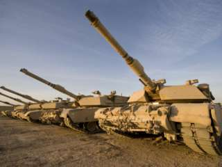 M1 Abrams Tanks at Camp Warhorse Photographic Print by Stocktrek