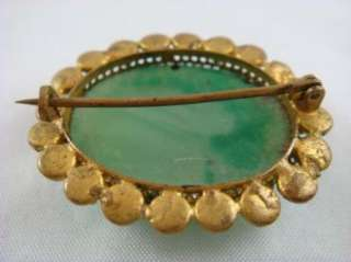 Vintage Green Natural Stone Malachite Gold Tone Accent Brooch Pin
