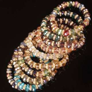 Mix Color Crystal Glass Faceted Bead Stretchy Bracelet Bangle