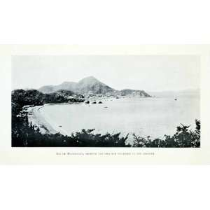 1907 Print Mexico Manzanillo Bay Harbor Ocean Beach Shore Mountains