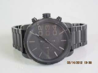 Mens Large 51mm Chronograph Black Stainless Steel Bracelet Watch