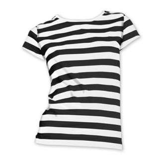 Ladies Striped T Shirt S XL Horizontal Black White Red Blue Stripes