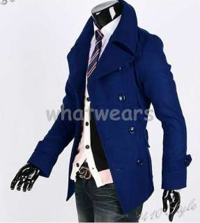 Mens Double Breasted Trench Coat /Jacket Navy Blue Z54
