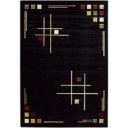 Hand woven Soho Collection Black Cotton Rug (52 x 76)
