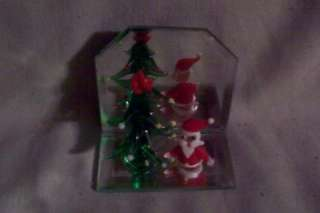 Miniature Glass Animals Camel Bird Santa with Christmas Tree on