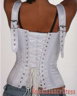 Satin Strap Steel Boned Overbust Wedding Corset Retro Clothing