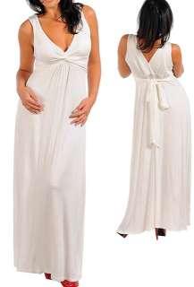 2X SOFT White JERSEY KNIT Rayon/Spandex TWIST TOP LONG Maxi DRESS