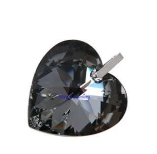 Huge Black Silver Swarovski Crystal Heart Pendant 925