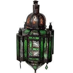 Emerald Stained Glass 1 light Bronze Chandelier (Morocco)
