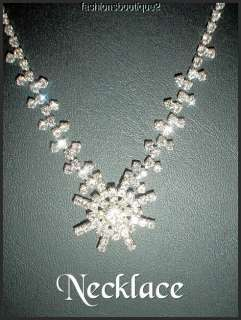 ELEGANT CLEAR CRYSTAL NECKLACE & EARRING SET FREE & FAST SHIPPING