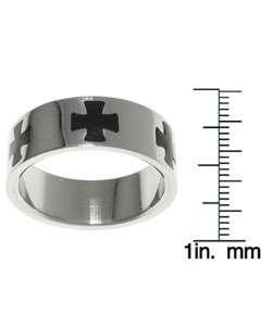 Stainless Steel Black Maltese Cross Ring