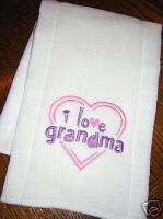 Baby/Infant Cloth Diaper Burp Pad  I LOVE GRANDMA