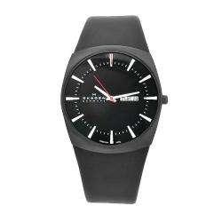 Skagen Mens Denmark Black Leather Black Dial Watch