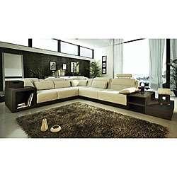 Marthena 3 piece Ivory Leather Sectional Sofa Set