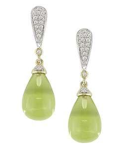 14k Gold 1/8ctw Diamond Lemon Quartz Earrings