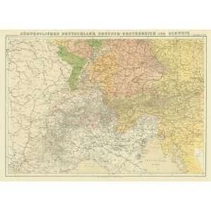1870 Antique Map of Germany, Austria & Switzerland