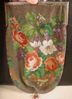 VICTORIAN MICRO BEADED FLORAL LARGE HANDBAG PURSE MUST SEE