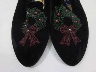 KAREN SCOTT Black Velvet Beaded Christmas Flats Sz 8.5