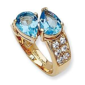 Gold Plated Swarovski Crystal Blue Pear Shape Ring, Size