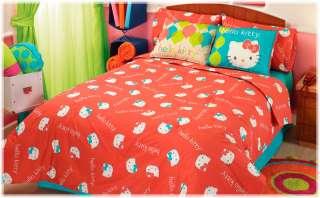 New Girls Red Hello Kitty Comforter Bedding Set Full 4