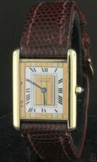 VERMEIL GOLD PLATED STERLING SILVER MENS WATCH W/ RARE DIAL