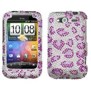 Cheetah Crystal Diamond BLING Hard Case Phone Cover for HTC Wildfire S
