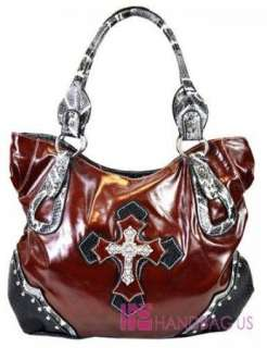 Oversized Western Rhinestone Cross Handbag Purse Brown