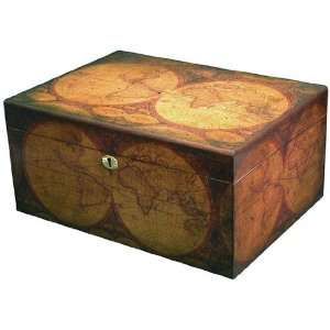 Old World Map 100 Cigar Desktop Humidor: Home & Kitchen