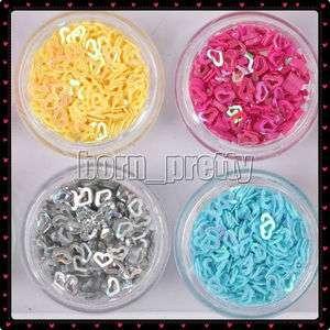 12 Colors Heart Piercing Nail Art Glitter Powder Slice Sheets Tips