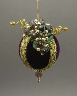 Towers & Turrets Handmade Beaded Velvet Christmas Ornament Ball Grape