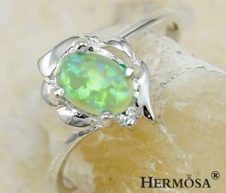 Rare Charm Rainbow Fire Green Opal Diamond . Sterling Silver Ring s.7