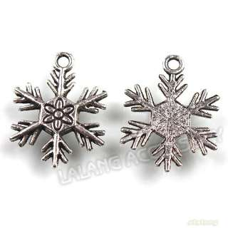 60 Antique Silver Christmas Snowflake Charms Alloy Pendants Fit