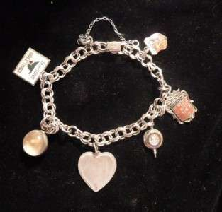 Silver Charm Bracelet 6 Charms Shippenburg College Spain Heart
