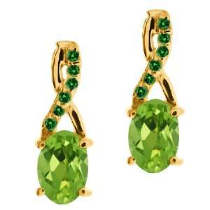 Green Mystic Topaz and Green Diamond 10k Yellow Gold Earrings Jewelry