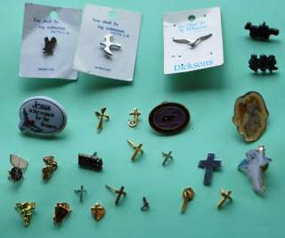 LOT 25 RELIGIOUS PINS ANGEL CROSSES DOVES PRAYING HANDS