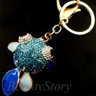 ADDL Item  Rhinestone Crystal GOLDFISH Key Chain Handbag