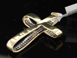 LADIES YELLOW GOLD DIAMOND CROSS JESUS CHARM PENDANT