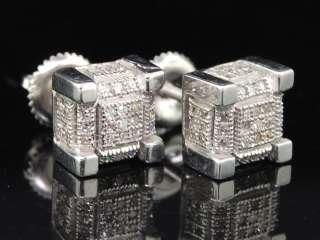 MENS WHITE GOLD FINISH PAVE DIAMOND CUBE STUD EARRINGS