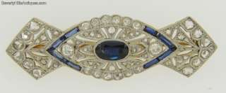 Antique Art Deco Platinum Sapphires Diamonds 18k Brooch