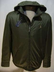 Polo Ralph Lauren Mens L Hooded Leather Jacket Coat Zip Fleece Olive