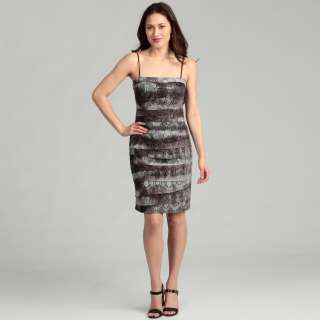 JS Collections Womens Silver Lace Pleated Dress