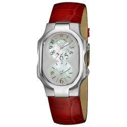 Philip Stein Womens Signature Red Leather Strap Dual Time Watch