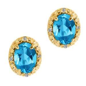 1.68 Ct Oval Swiss Blue Topaz Yellow Gold Plated Argentium
