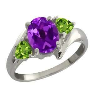 1.62 Ct Oval Purple Amethyst and Green Peridot Sterling
