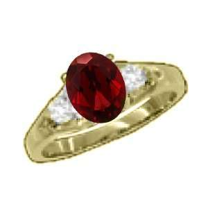 1.04 Ct 7X5 Oval Red Garnet Diamond Yellow Gold Ring
