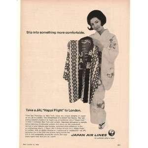 1968 JAL Japan Air Lines Happi Coat Hostess Print Ad