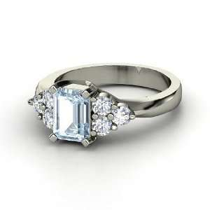 Apex Ring, Emerald Cut Aquamarine Platinum Ring with Diamond Jewelry