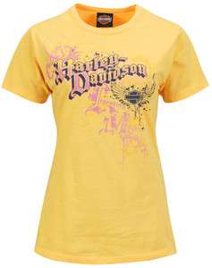 Harley Davidson Womens Heart & Soul Melon Yellow Short Sleeve Crew T
