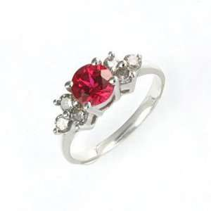 1cttw Lab Created Ruby and Genuine Diamond 10K White Gold Ring Size 7